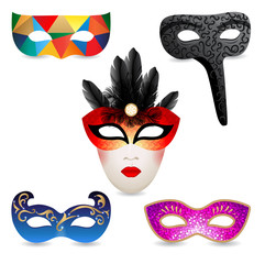 bright carnival masks icons