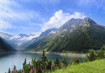 Alpine lake Schlegeis, valley Zillertal, Austrian Alps