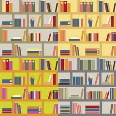 Four seamless bookshelf backgrounds