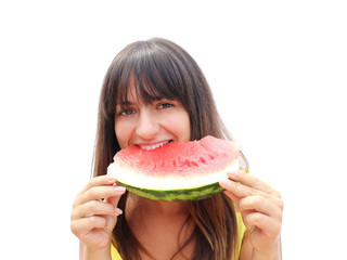 Girl with piece of watermelon