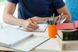 Student during doing homework