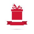 Gift box with ribbon. flat design.