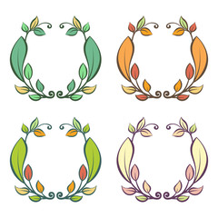 Round frame with autumn and summer leaves, vector illustration