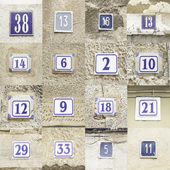 Collage of House numbers