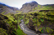 Landscape view of Thorsmork mountains canyon and river, Iceland