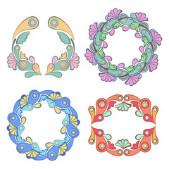Floral wreath frame with flowers and leaves, vector illustration