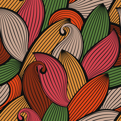 Vector seamless hand-drawn pattern of colored autumn leaves