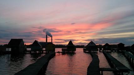 Sunset in Bokod lake