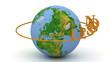 Lesson inscription orange lettering rotating around the earth