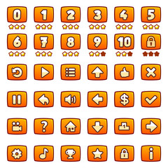 Orange game buttons set