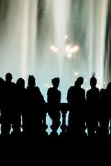 People watching the beautiful fountain show in barcelona