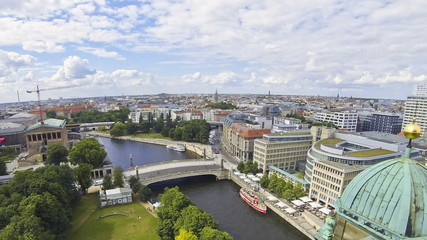 Aerial view of Spree River in Berlin city, Germany (Time Lapse)
