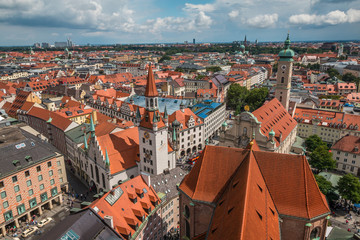 Aerial View of Munich old town in Germany