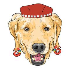 vector funny cartoon hipster dog Labrador Retriever