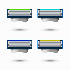 Vector modern razor icons set on white background