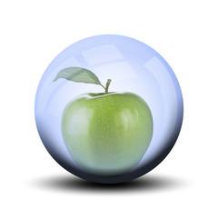 Fruit dans bulle : pomme verte