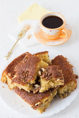 Homemade Walnut Cake with Coffee