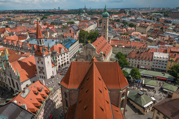 Aerial view of Munich - Marienplatz and Altes Rathaus,