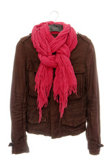 Brown jacket and pink scarf
