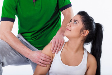 Patient chatting up physiotherapist