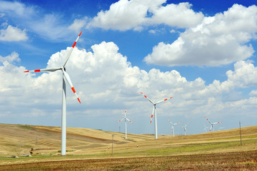 wind generators turbine - energy saving ecology concept