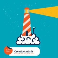 Vector brain with lighthouse
