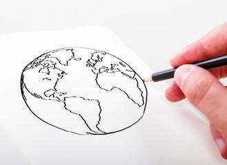 hand drawning earth