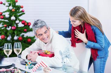 Happy Christmas Family Scene At Home