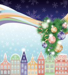 Happy Merry Christmas and New Year background, winter city