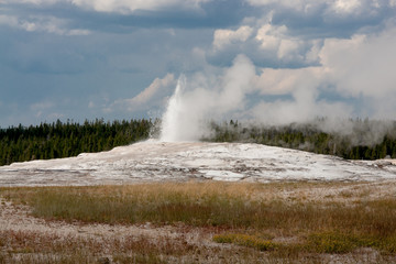 Old Faithful Begins to Erupt