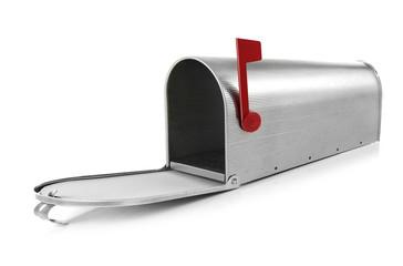 Empty mailbox on white background