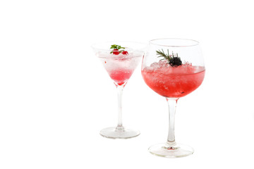 two fruits cocktail (blackberry and gooseberry) isolated on whit