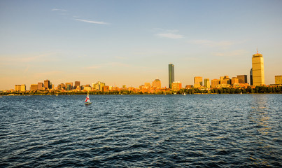 Boston sunset panorama over the Charles River