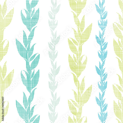 Fototapeta na wymiar Blue green seaweed vines seamless pattern background