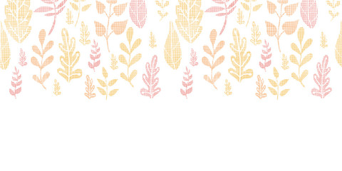 Textile textured fall leaves horizontal seamless pattern
