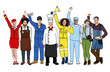 canvas print picture - Group of Multiethnic People with Different Jobs