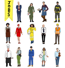 Group of Multiethnic People with Different Jobs