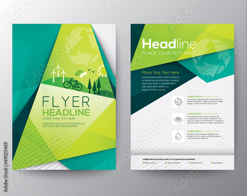 Abstract Triangle Flyer design template - 69025469