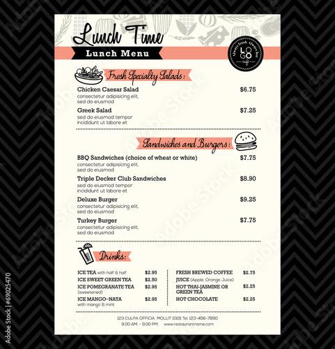 Restaurant Lunch menu design Template layout - 69025470