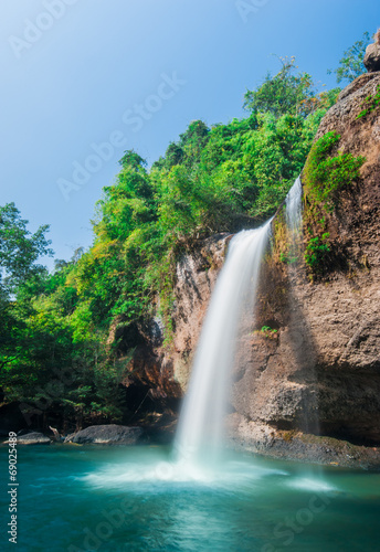 Haew Su thad waterfall with tunnel at Khao Yai national park, Th - 69025489