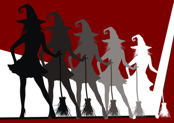 witch silhouette halloween background3