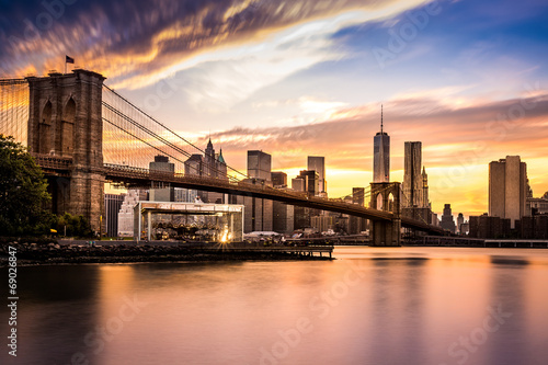 Fototapeta Brooklyn Bridge at sunset