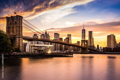 Poster Brooklyn-Brücke bei Sonnenuntergang