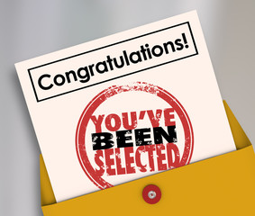 Congratulations You've Been Selected Stamp Official Letter