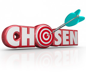 Chosen Word 3d Red Letters Selected Winner Arrow Target