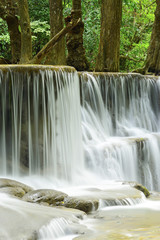 Close-up of waterfall in tropical deep forest at Huay Meakhamin