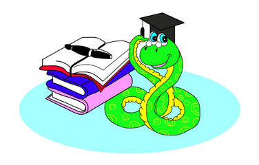 snake and books