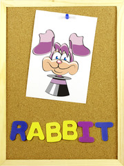 Rabitt word on a corkboard