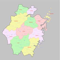 Map of Zhengjiang Province China