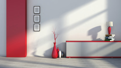 red empty interior with vases and lamp